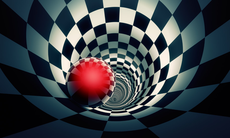 Red ball in a chess tunnel 00301