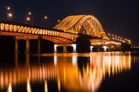 Reflection  bridge Bangwa in Seoul 00969