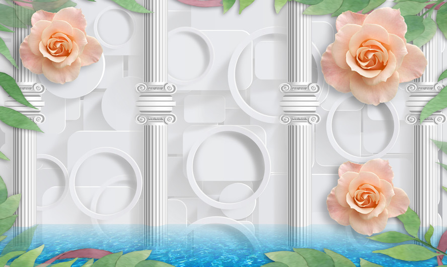 Rose and columns 3D 00905