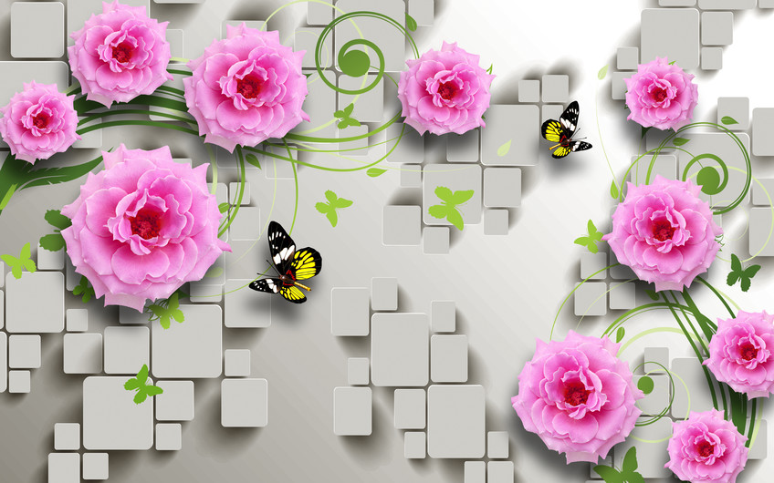 розовые цветы 01054