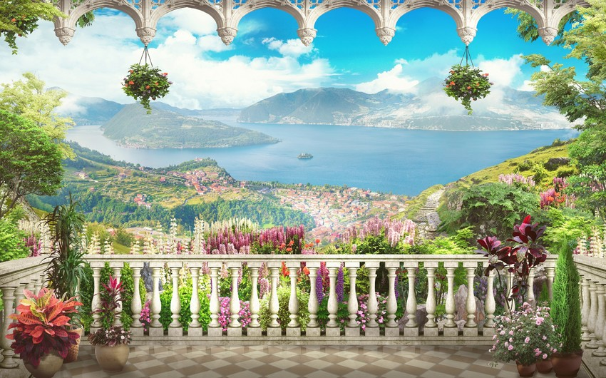 Lovely balcony with mountain views 00426