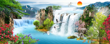 Waterfall flying birds 01008