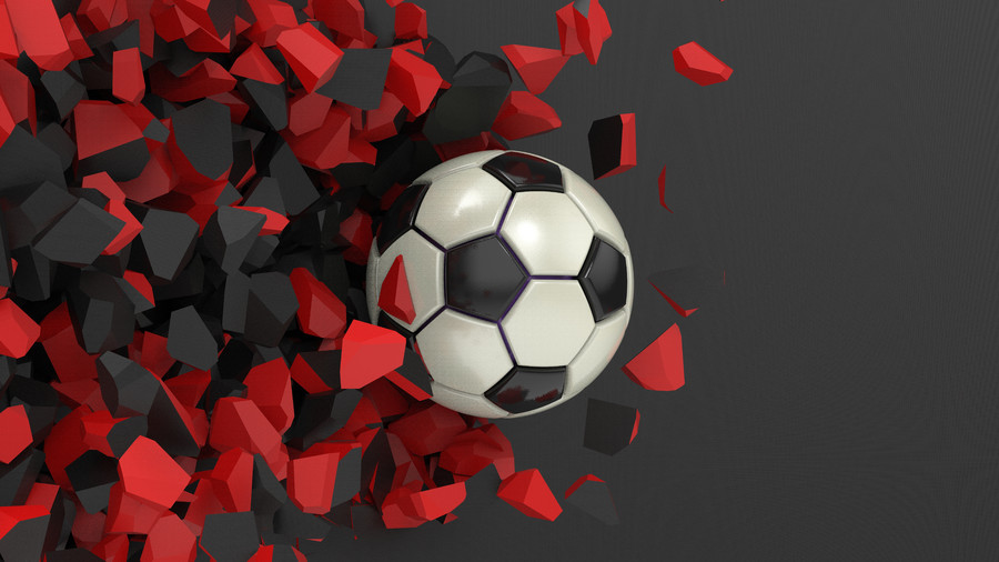 Soccer ball in wall 3D 00404