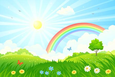 Summer sun and rainbow 00361