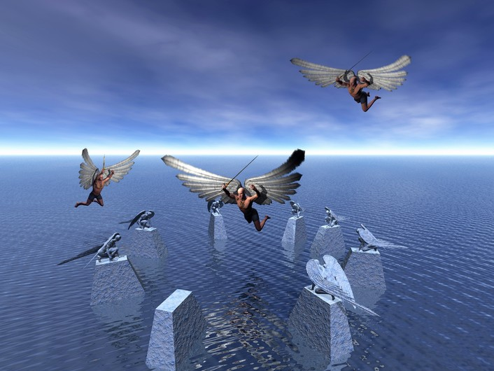 Surreal world of angels 3D. 00912
