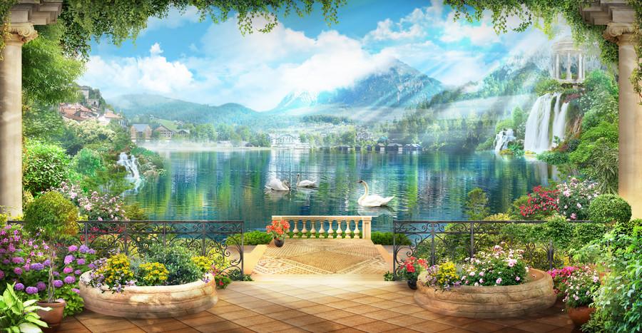 Terrace flowers & white swans 00267