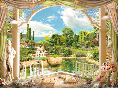 Terrace overlooking the garden 00873