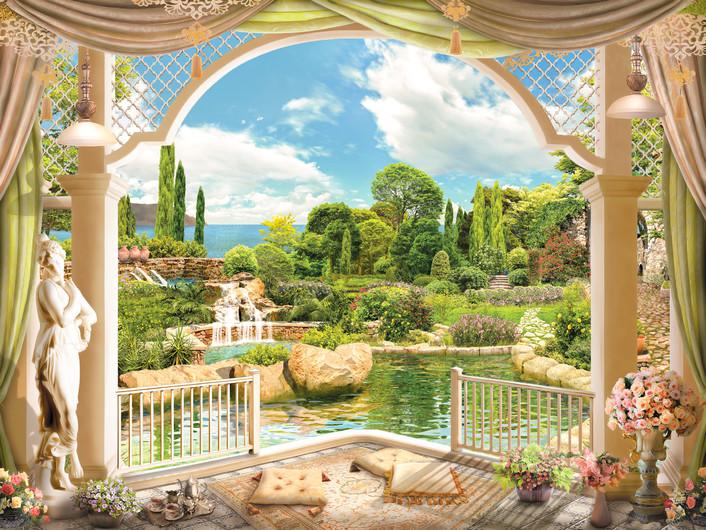Terrace overlooking the garden 00873