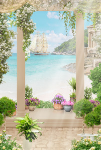 Old columns with flowers , sea view 00819