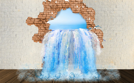 Water flows out of the 3D wall 00907