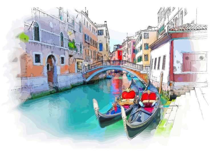 Venice building and gondola 00439