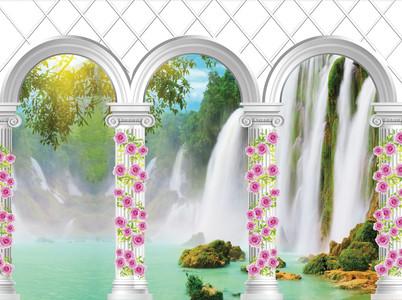 водопад за колонной 01140
