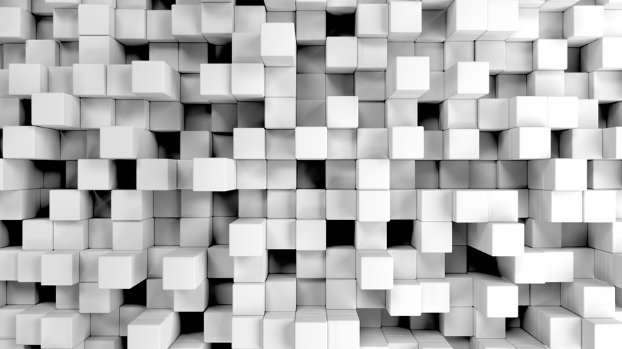 Wall of white cubes 00322