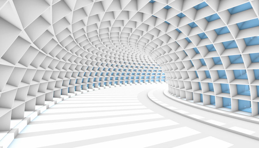 White Abstract Tunnel with blue 00295