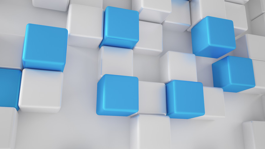 White and turquoise, blue cubes. 3D 00881