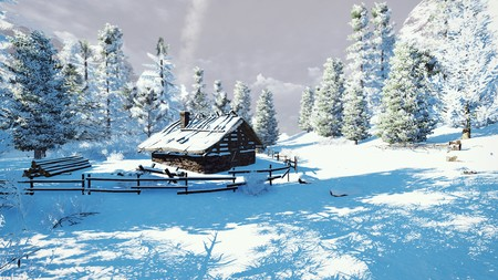 Winter landscapes hut 00810